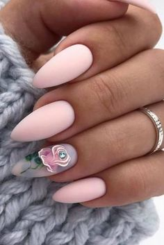 30 Wow Wedding Nail Ideas ❤ nail ideas nude pastel mate pink with hand painted rose nail_art_store Acrylic Nail Powder, Cute Acrylic Nails, Acrylic Nail Designs, Nail Art Designs, Rose Nail Art, Rose Nails, Rose Nail Design, Ongles Rose Pastel, Hair And Nails