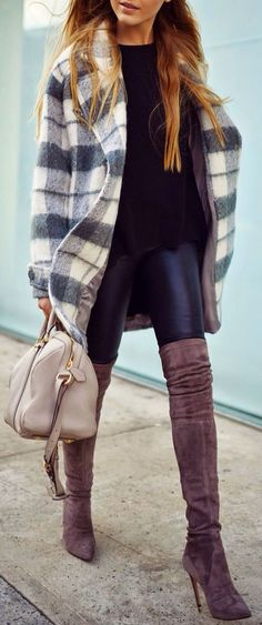 Plaid coat + suede over the knee boot.