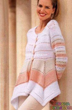 Трехцветный жакет - Жакеты,Пуловеры, свитера - Вязание спицами - Рукоделие