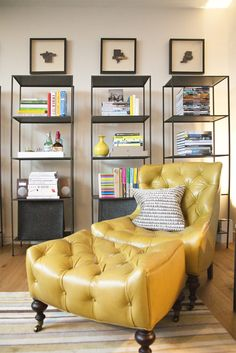 I like the mix of the traditional chair and the modern shelving.