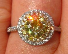 Yellow Moissanite Engagement Ring, Canary Yellow Moissanite in Diamond Halo Engagement Ring, Yellow Diamond Engagement Ring, by JuliaBJewelry Yellow Diamond Engagement Ring, Engagement Ring For Her, Halo Engagement, Canary Diamond, Diamond Cuts, Wedding Matches, Moissanite, Jewelry, Awesome