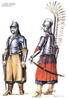 Husarze - pocztowy z bandoletem i towarzysz w skrzydlatej zbroi