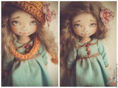 Купить Настенька - темно-бирюзовый, русская краса, текстильная кукла, горчичный, нежность, добро