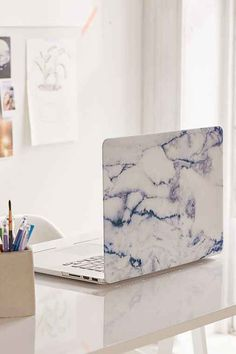 """White Marble 15"""" Laptop Cover - Urban Outfitters"""