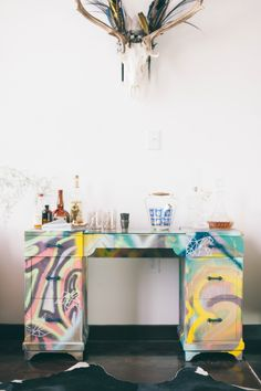 """Graffiti Desk - """"Banksy"""" designed by Barb Blair for her book """"Furniture Makes the Room"""" Chronicle Books 2016  Photo by Paige French"""