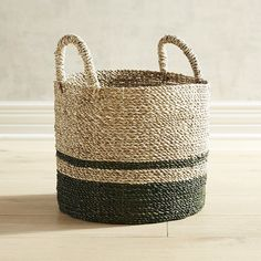 Harden Green & Natural Small Round Basket