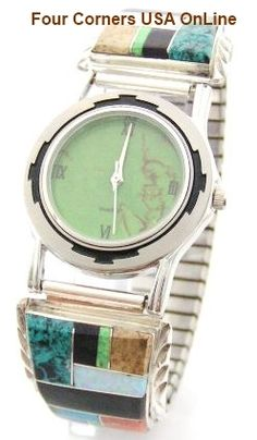 Four Corners USA Online - Men's Inlay Sterling Watch Shown with Mohave Green Turquoise Face Native American Artisan Arnold Yazzie, $189.00 (http://stores.fourcornersusaonline.com/mens-inlay-sterling-watch-shown-with-mohave-green-turquoise-face-native-american-artisan-arnold-yazzie/)
