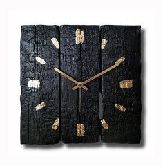 Burned wood clock, wall clock, Hand made clock, Wooden clock, design clock