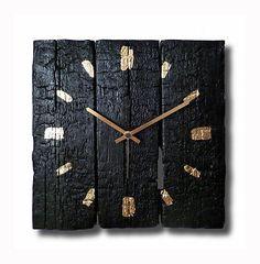Burned wood clock, wall clock, Hand made clock, Wooden clock, design clock   eBay