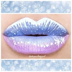 """Disney's ❄Frozen❄ Inspired Lips up close ❄❄ I used @limecrimemakeup """"Lunar Sea"""" Liquid Liner for the snow and icicles ❄"""