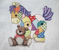 "Cross-stitch Patchwork Pony & Teddy Bear Baby Announcement, part 1...   Gallery.ru / Los-ku-tik - Альбом ""Лошадка"""