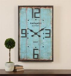 VINTAGE-FRENCH-CHIC-TURQUOISE-BLUE-WOOD-PANEL-ANTIQUITE-QUARTZ-WALL-CLOCK-36-H