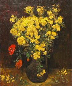 """Van Gogh's """"Poppy Flower"""" painting was stolen for the second time last weekend and was the subject of several mixed reports that it had been recovered at the airport from foreigne… Vincent Van Gogh, Van Gogh Museum, Art Van, Paul Gauguin, Flores Van Gogh, Monet, Van Gogh Flowers, Van Gogh Arte, Van Gogh Pinturas"""