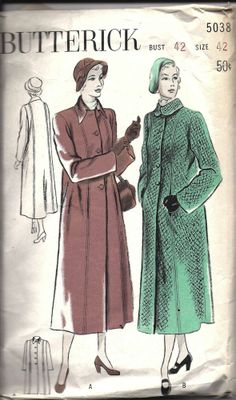 Vintage Butterick Sewing Pattern 1950's Women's Boxy Casual Coat 5038 42 OOP SEW