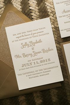 CASEY Suite Glitter Package, gold glitter, gold and ivory wedding, elegant wedding, black tie invitations
