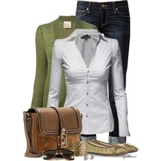 Love the clean lines of the white shirt Cute Outfits and Casual | Casual Autumn | Fashionista Trends