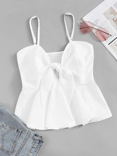 Ad: Knot Front Solid Cami Top. Tags: White, Knot, Shirred, Fabric has no stretch, Regular Fit, Regular, 100% Polyester, Spaghetti Strap, Plain, Summer, Cute, Cami, Polyester #fashion #womenfashion #womenclothes #shein