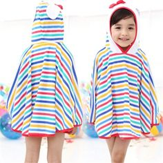 Super cute stripe hooded beach towel for this summer