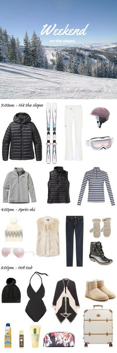 What to pack for a ski trip. Whether you're a snow bunny or a boarder chick, I've listed everything you need to bring for your next vacation in the mountains. Whether you are traveling to Vail in Colorado or Lake Tahoe in California, you'll be set with th Ski Fashion, Look Fashion, Womens Fashion, Travel Fashion, Fashion Clothes, Fashion Check, Fashion 2016, Daily Fashion, Latest Fashion