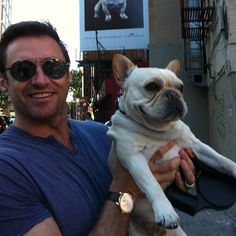 Hugh Jackman and Dali - X-Men star Hugh Jackman shows off his soft side while spending quality time with Dali, his French bulldog. Jackman's 13-year-old son Oscar named the cute pup after one of his favorite artists, Salvador Dali.