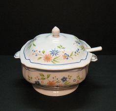 Vintage Federalist Ironstone Soup Tureen & Ladle Floral Motif 1960-70s