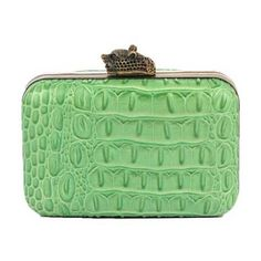 House of Harlow 1960 Marley Clutch in Lime Croco ($199) ❤ liked on Polyvore