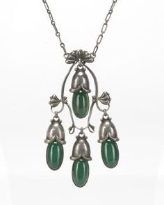 Lot: A Georg Jensen silver and green chrysoprase necklace, Lot Number: 2061, Starting Bid: $500, Auctioneer: John Moran Auctioneers, Inc., Auction: Studio Auction, Jewelry, Date: May 23rd, 2017 EDT
