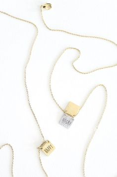 """Hello Emotions tag necklace, cute and delicate! Flip to either """"Happy"""" or """"Angry"""". Tell us how you really feel. // TYPENU Co"""