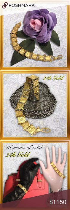 24k .9999 Y Gold Chinese Zodiac Calendar Bracelet 16.1 grams of 24 karat (.9999) yellow Gold. 12 'coins' linked together depict each of the Chinese's' zodiac calendar's animals...Year of the...Rat-Ox-Tiger-Rabbit-Dragon-Snake-Horse-Goat-Monkey-Rooster-Dog and Pig. Chinese symbol on reverse of each 'coin'.  The Chinese zodiac, known as Sheng Xiao, is based on a 12 year cycle; each year is symbolized by an animal. It is believed that the animals affect the character of people in the same way…