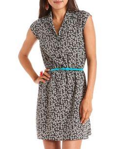 Belted Ditsy Floral Shirt Dress: Charlotte Russe