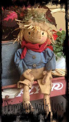 Primitive Fall Autumn scarecrow raggedy doll #NaivePrimitive