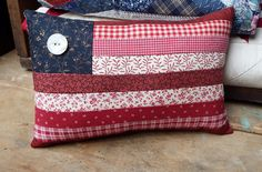 "Flag Pillow, 6"" x 10"", Patchwork, Americana, Patriotic, 4th of July, Red White & Blue, Accent Pillow, Chair Pillow, Housewarming Gift - pinned by pin4etsy.com"