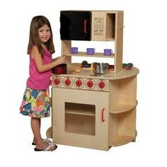 All-In-One Kitchen Center by Wood Designs , 17293 Toddler Play Kitchen, Toddler Rooms, Preschool Furniture, Kids Furniture, Compact Microwave Oven, School Tables, America Furniture, Heart Of America, First Kitchen