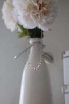 Pink Ombre Beaded Necklace Gold Filled Chain by LucyMint on Etsy