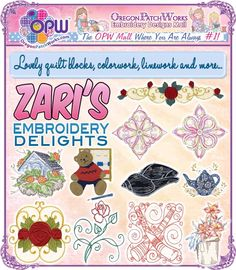 Lovely quilt blocks, colorwork, linework and more from Zari's Embroidery Delights!