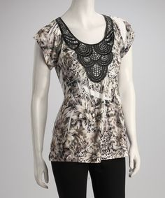 Take a look at this Brown Floral Jungle Crocheted Top by Simply Irresistible on #zulily today!