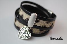 """Vernada Design -nahkakoru, 2xkieputettava, """"pantteri"""", SYDÄN  #Vernada #jewelry #koru #nahkaranneke #nahkakoru #rannekoru #bracelet #leather #suomestakäsin #käsityökortteli #finnishdesign #finnishfashion"""