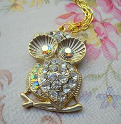 Sparkle Rhinestone Owl Necklace by lucindascharms on Etsy, $16.00