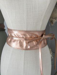 Obi Rose Gold Metallic Real Leather Belt - Virgo Boutique Real Leather Belt, Gold Belts, Belt Tying, Virgo, Wedding Reception, Metallic, Shops, Rose Gold, Boutique