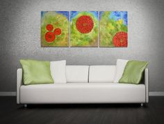 """Original Abstract Textured Acrylic Flower Paintings on Canvas by Joaquina - Triptych Floral Acrylic Paintings, Red Flowers - Size: 20"""" x 48"""" Total on Three 20"""" X 16"""" canvases."""