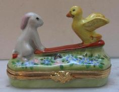 Tiffany Limoges France Peint Main Rabbit and Duck Trinket Box