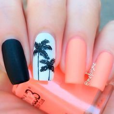 There are three kinds of fake nails which all come from the family of plastics. Acrylic nails are a liquid and powder mix. They are mixed in front of you and then they are brushed onto your nails and shaped. These nails are air dried. Stylish Nails, Trendy Nails, Tropical Nail Designs, Tropical Nail Art, Nail Designs For Spring, Summer Manicure Designs, Tropical Design, Nails Yellow, Coral Nails
