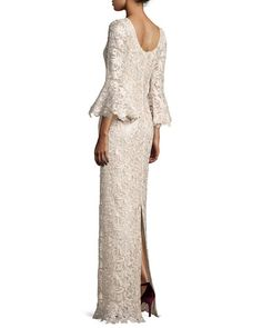 TV875 Rickie Freeman for Teri Jon Bell-Sleeve Floral Lace Column Gown, Champagne