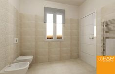 A spacious and regular bathroom, enhanced by the natural effect of the collection #Desert. Floor tiles 60x60 cm #Desert Beige and wall tiles 30,5x56 cm. Precious inserts as #Mosaico Desert Beige and textured decoration #Memory Desert Beige.