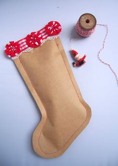 Brown paper~ Christmas Kraft Stocking. Fill with candy for a holiday gift!