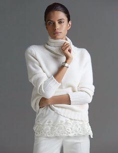 Pullover aus Wolle und Kaschmir mit Spitze Frau, Fuchsie