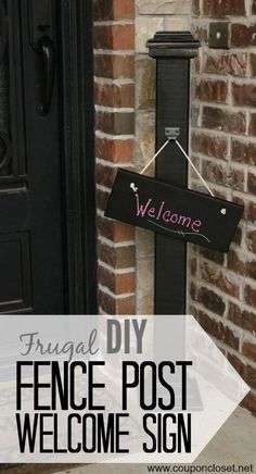 This welcome sign is easy to make and really cute front porch decor! You will love this fence post welcome sign! Try making your own welcome sign for your home today! Diy Fence, Fence Ideas, Fence Post Crafts, Welcome Post, Front Porch Signs, Front Porches, Porch Posts, Do It Yourself Inspiration, Diy House Projects