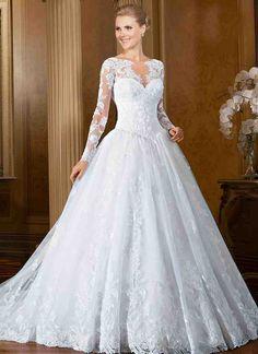 White Lace Wedding Dress With Sleeve