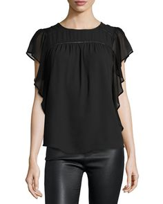 THQ40 Marled by Reunited Clothing Flutter-Sleeve Chiffon Blouse, Black