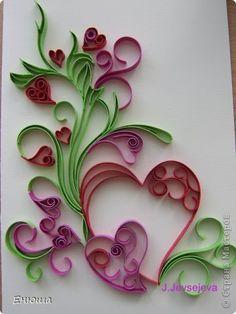 Открытка Валентинов день День рождения Квиллинг Торцевание Валентинки Бумага фото 3